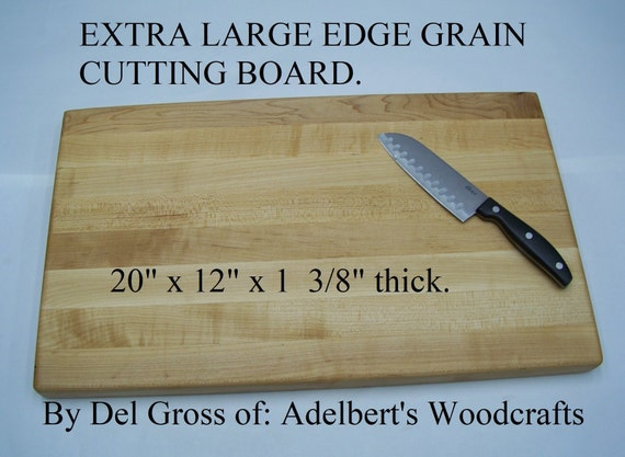 "Extra large Hard Maple edge grain butcher block 20"" x 12"" x 1 3/8""  Shipped by priority mail 2 to 3 days delivery."