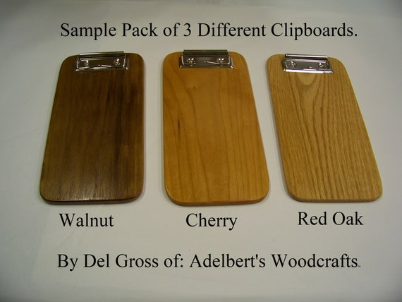 Sample Pack of 3 Different  Small Wooden Clipboards, Check Presenter. Walnut, Cherry, Red Oak. Handmade in USA.
