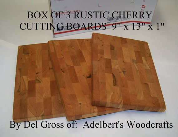 "3 Rustic Cherry End Grain Cutting Boards 13"" x 9"" x 1"" For Sale. Kiln dried lumber. FREE Shipping by Priority Mail."