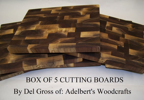 5 Rustic Black Walnut End Grain Cutting Boards For Sale. Made of natural unsteamed Black Walnut lumber.Shipped by priority mail 2 to 3 days.