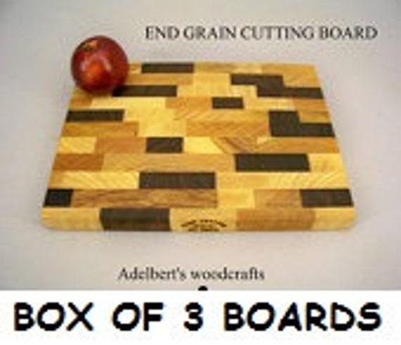End Grain Cutting Board Box of 3 Cutting Boards.