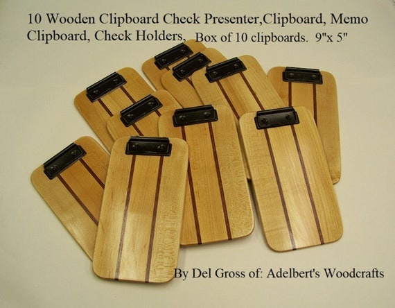 "Clipboards 10 Wooden Clipboard Check Presenter,Clipboard, Memo Clipboard, Restaurant Check Holders, Small 9""x 5""  Box of 10 clipboards."