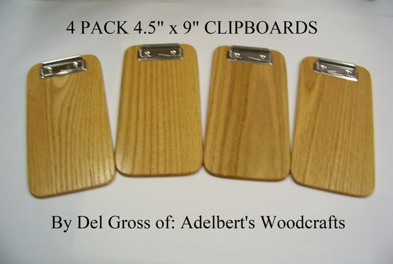 4 Small Wooden Clipboard, Memo Clipboard, Restaurants, Check Presenter. 4 clipboards.  Made in USA.
