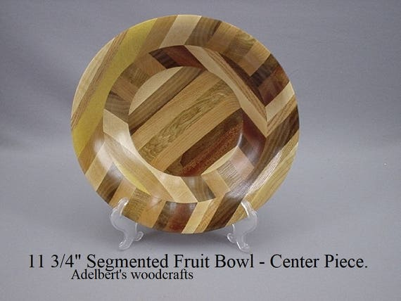 "11  3/4"" Segmented Wooden Bowl. Mixed woods of the world. Fruit bowl, Center piece, Bandsaw boul."