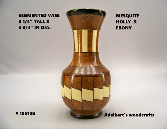 Segmented Vase Made of Mesquite, Holly & Ebony