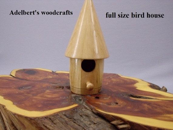Round Cone Head Bird House Lathe Turned Full Size.