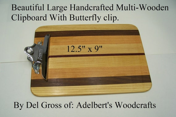 Beautiful Large Handcrafted Multi-Wood Clipboard With Butterfly clip.  Great for office, school, sports or Restaurant clipboard menu holder.