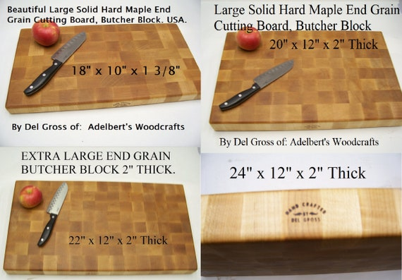 """Extra Large Hard Maple End Grain Cutting Board-Butcher Block, Your Choice of 4 Sizes up to 2"""" Thick For Sale."""