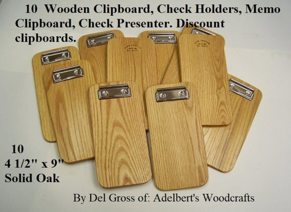 10 Small Solid Oak Clipboard, Memo Clipboard, Check Holders, Check Presenter. Box of 25 clipboards.  USA. FREE SHIPPING Priority Mail.