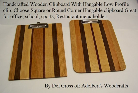 Large Handcrafted Multi-Wooden Hangable Clipboard With Low Profile clip. Choose Square or Round Corner Great for office, school, Restaurants