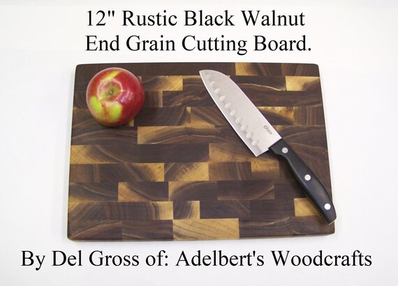 "12"" Rustic Black Walnut End Grain Cutting Boards For Sale. Made of natural unsteamed Black Walnut lumber.Shipped priority mail 2 to 3 days."