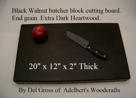 Black Walnut butcher block cutting board. End grain. Great Gift For Any Occasion. Free Shipping in the USA.
