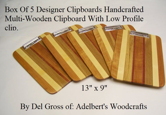 Box Of 5 Designer Clipboards Handcrafted Multi-Wooden Clipboard With Low Profile clip.  Great for office,school. sports and Restaurants.