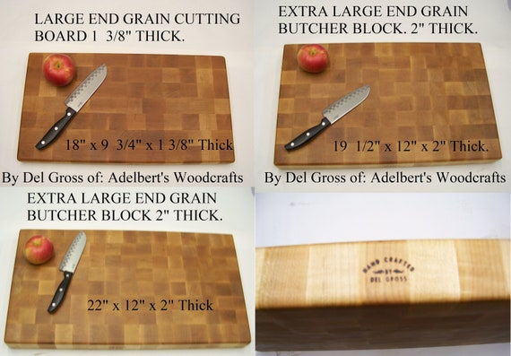 """Extra Large Hard Maple End Grain Cutting Board-Butcher Block, Your Choice of 3 Sizes up to 2"""" Thick For Sale."""