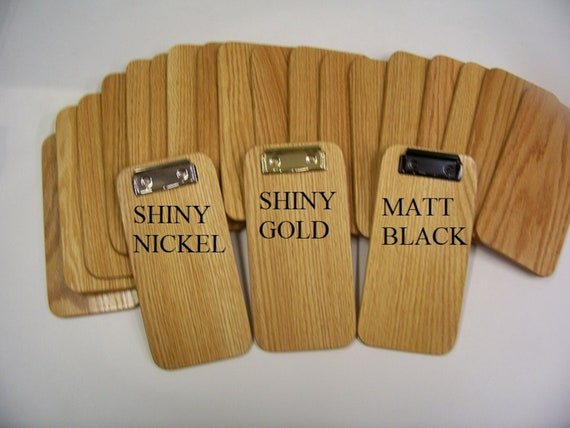 """Small Wooden Clipboard, Memo Clipboard, Check Presenter 4"""" x 8""""  You can choose from 3 different color 2 3/4'' clips. Ready to ship."""