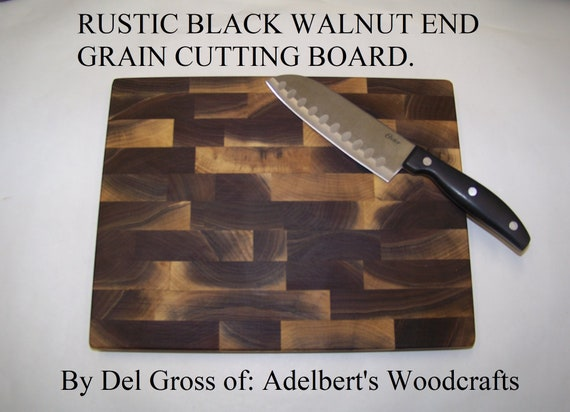 Rustic Black Walnut End Grain Cutting Boards For Sale. Made of natural unsteamed Black Walnut lumber.Shipped by priority mail 2 to 3 days.