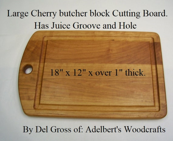 "Large Cherry Butcher block Cutting Board 18 3/4"" x 12"" x 1 1/4"" w/Juice Groove With or With Out Pads. Shipped Priority Mail in USA."
