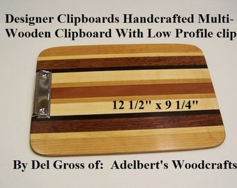 Designer Clipboards Handcrafted Multi-Wooden Clipboard With Low Profile clip.  Great for office, school. sports and Restaurants. USA.