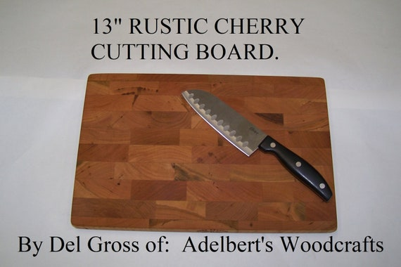 "13"" Rustic Cherry End Grain Cutting Boards For Sale. Great Gift."