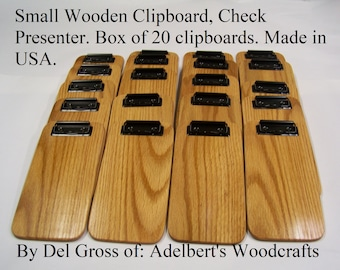 """20  Wood Check Presenters, Restaurant Check Holder Clipboard 4 1/2"""" x 9'' Only 8.75 each when you buy a box of 20. Oak with Black Clips USA."""