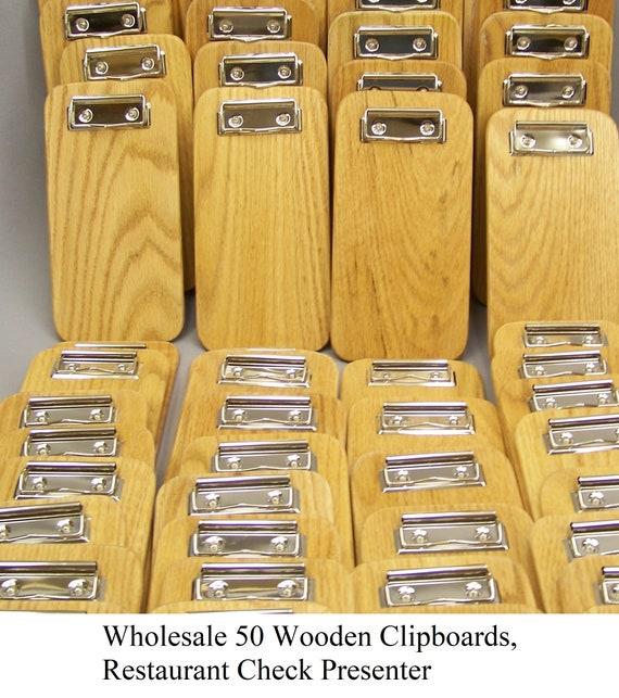 Wholesale 50 Wooden Clipboards, Restaurant Check Presenter, Memo Clipboards. Made in USA. FREE SHIPPING