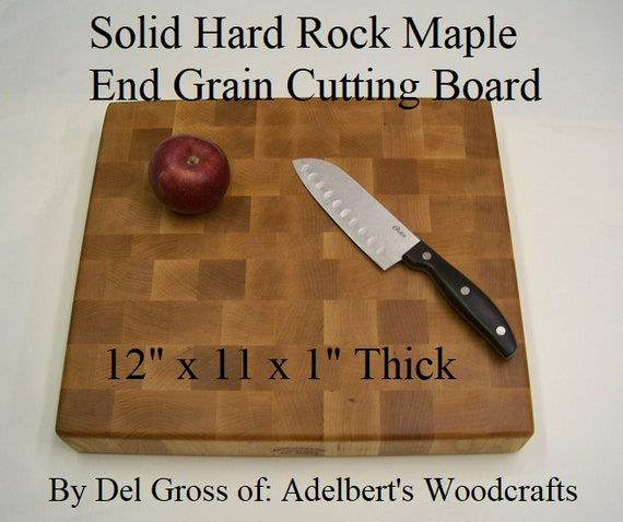 "Beautiful Solid Hard Rock Maple End Grain Cutting Board 12"" x 11"" x 1"". Shipped by priority mail 2 to 3 days delivery."