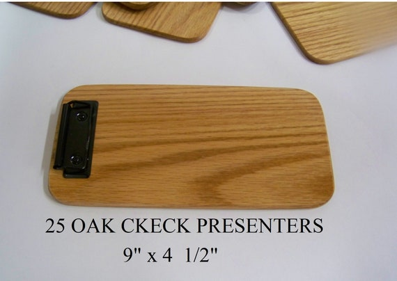 25  Wooden check presenters, Clipboard, Memo Clipboard, Restaurants. Beautiful Solid Red Oak.  Box of 25 clipboards.  Made in USA.