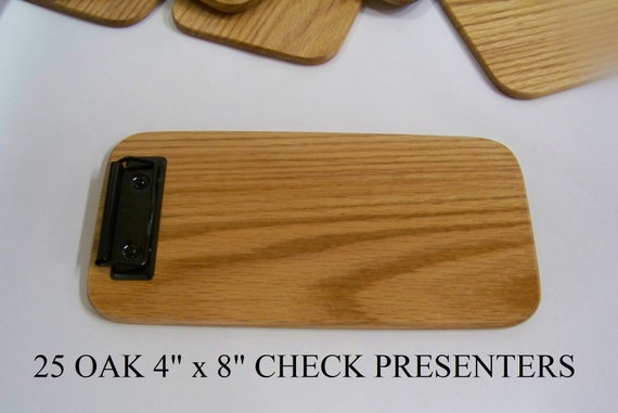 25  Wooded check presenters, Clipboard, Memo Clipboard, Restaurants. Beautiful Solid Red Oak.  Box of 25 clipboards.  Made in USA.