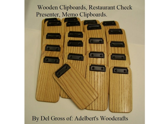 "21 Small Wooden Clipboard, Check Holders, Memo Clipboard, Check Presenter. Discount clipboards. 4"" x 8"" x 9/32"" Thick. FREE SHIPPING USA."