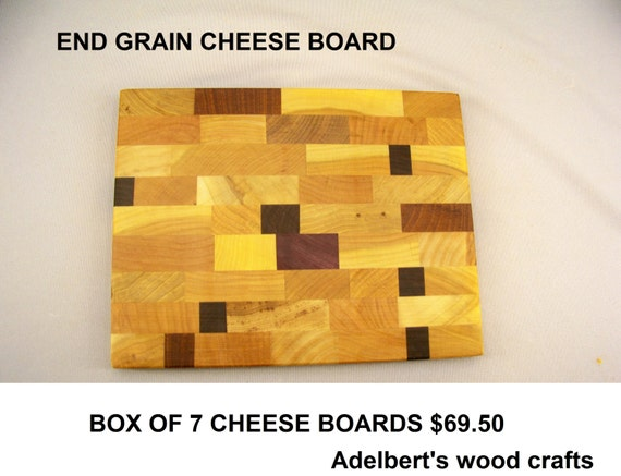 """Box of ( 7 ) 8"""" x 10"""" Cheese and Sandwich End Grain Cutting Boards.  Shipped by priority mail 2 to 3 days delivery."""