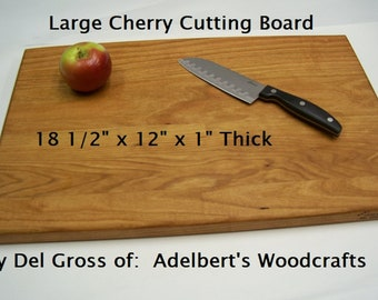 """Larger Solid Cherry Cutting Board 18 1/2"""" x 12"""" x 1""""  Shipped by priority mail 2 to 3 days delivery. Pattern"""