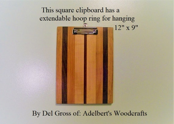 Hanging Clipboard Handcrafted Wooden Clipboard With Low Profile clip. clipboard Great for office, school, sports, Restaurant menu holder.
