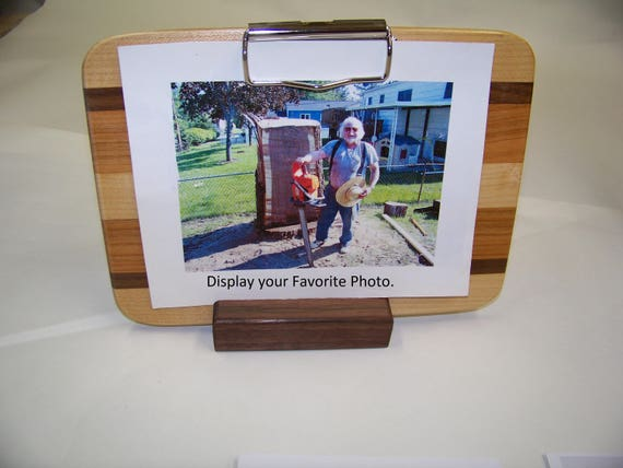 Wooden Photo Clipboard With Base and low Profile clip. Handcrafted of Different Hardwood Strips.