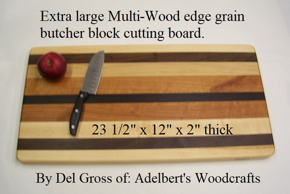 """Extra large multi-wood edge grain butcher block 23 1/2"""" x 12"""" x 2"""" thick. Free shipping by priority mail 2 to 3 delivery."""