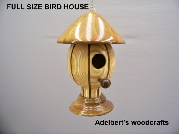Designer Handcrafted Round Lathe Turned Bird House For Sale With Free Shipping In The USA.