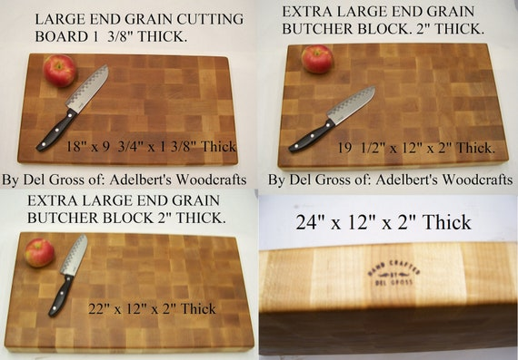 "Extra Large Hard Maple End Grain Cutting Board-Butcher Block, Your Choice of 4 Sizes up to 2"" Thick For Sale."