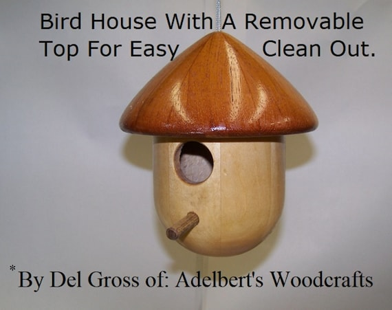 Bird House Large Round Lathe Turned With A Removable Top For Easy Clean Out.