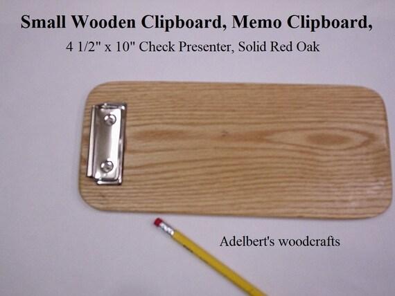 Small Wooden Clipboard, Memo Clipboard, Check Presenter, Restaurant Bill Presenter, Solid Red Oak Handcrafted in the USA.
