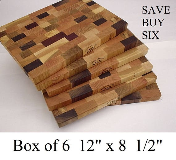"SIX - 12"" x 8.5"" x 1 "" wood cutting boards  Made in America."