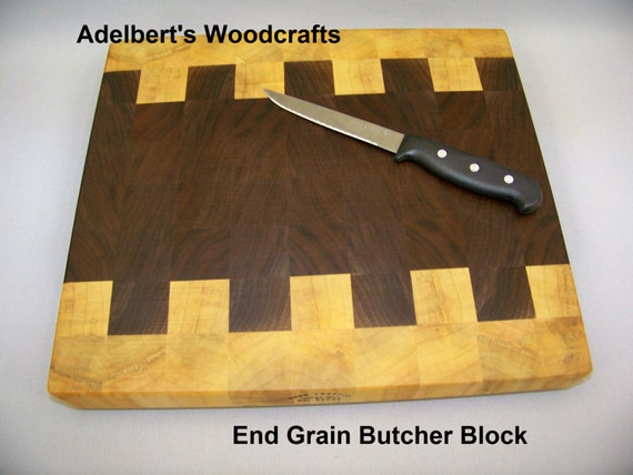 "Large end grain butcher block 12"" by  13.5"" by 1.5"" thick. Shipped by priority mail 2 to 3 days delivery."