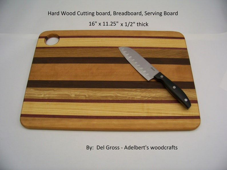 Mixed Hard Wood Cutting board, Breadboard, Serving Board With Thumb Hole  For Serving or Hanging