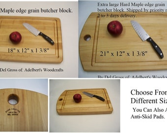 """Extra large Hard Maple edge grain butcher block Choose 18"""" x 12"""" or 21"""" x 12"""" shipped by priority mail 2 to 3 days delivery. USA."""