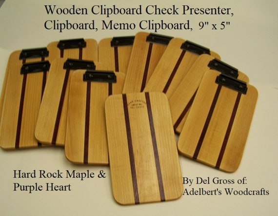 "Wooden Clipboard Check Presenter, Clipboard, Memo Clipboard, Restaurant Check Holders, Small 9""x 5""  The More You The lower The Price."