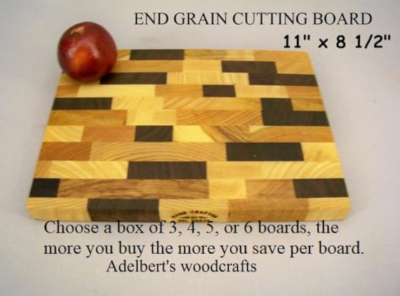 """Discounted ( Your choice box of 3, 4, 5, or 6 boards ) End Grain Cutting Boards 11"""" x 8.5"""" x 1""""."""