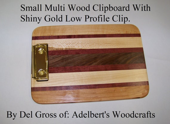 Wooden Clipboard With Gold Color low Profile clip. Handcrafted                of Different Hardwood Strips.