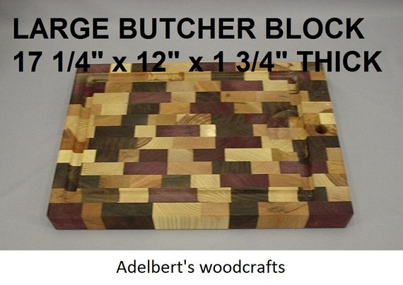 """Large 17 1/4"""" x 12"""" x 1 3/4"""" thick multi wood cutting board with juice groove.  Shipped priority mail 2 to 3 days delivery."""