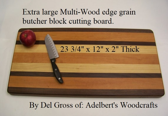 """Extra large multi-wood edge grain butcher block 23 3/4"""" x 12"""" x 2"""" thick.  Free shipping by priority mail 2 to 3 delivery."""
