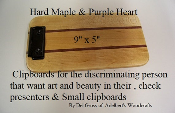 Wooden Clipboard With low Profile clip. Handcrafted                of Different Hardwood Strips.