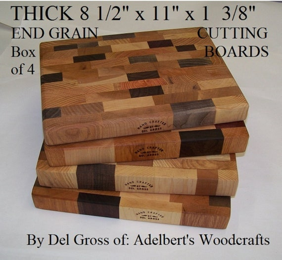 "4 Ex Thick Multi Wood Butcher block Cutting Board 11"" x 8  1/2"" x 1 3/8"" Thick."
