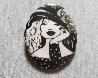 Ceramic Jewelry Black Brooch Gift For Women Black Box Handpainted Lidded Box Pin Jewelry With Faces Unique Brooch Statement Jewelry